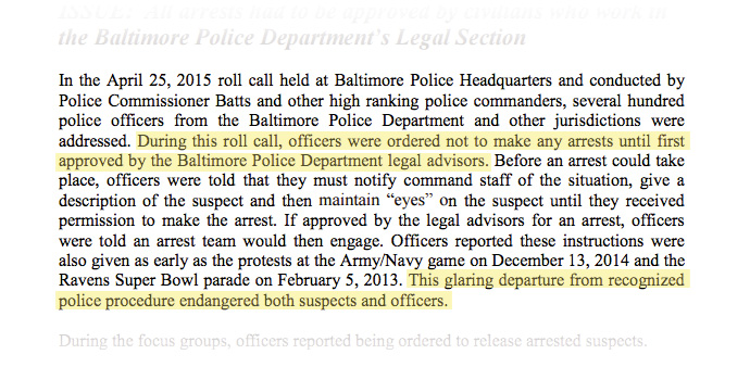 In the April 25, 2015 roll call held at Baltimore Police Headquarters...officers were ordered not to make any arrests until first approved by the Baltimore Police Department legal advisors. ...This glaring departure from recognized police procedure endangered both suspects and officers.
