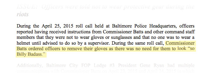During the April 25, 2015 roll call, officers reported having received instructions from Commisioner Batts...that they were not to wear gloves or sunglasses and that no one was to wear a helmet until advised to do so by a supervisor.