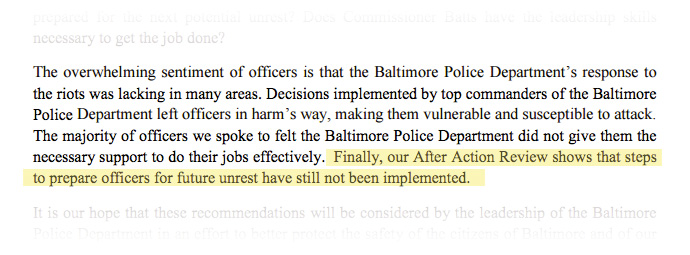 Finally, our After Action Review shows that steps to prepare officers for future unrest have still not been implemented.