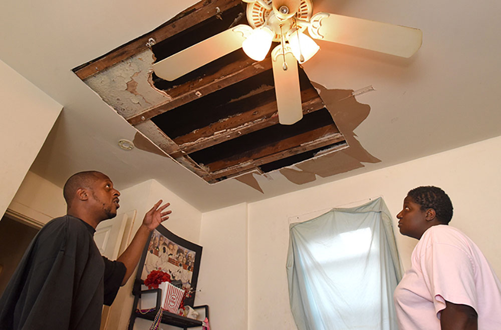 ... Second Floor Apartment On Jack Street In The Brooklyn Neighborhood Of  South Baltimore Since 2013. After Their Bedroom Ceiling Collapsed, They  Complained ...