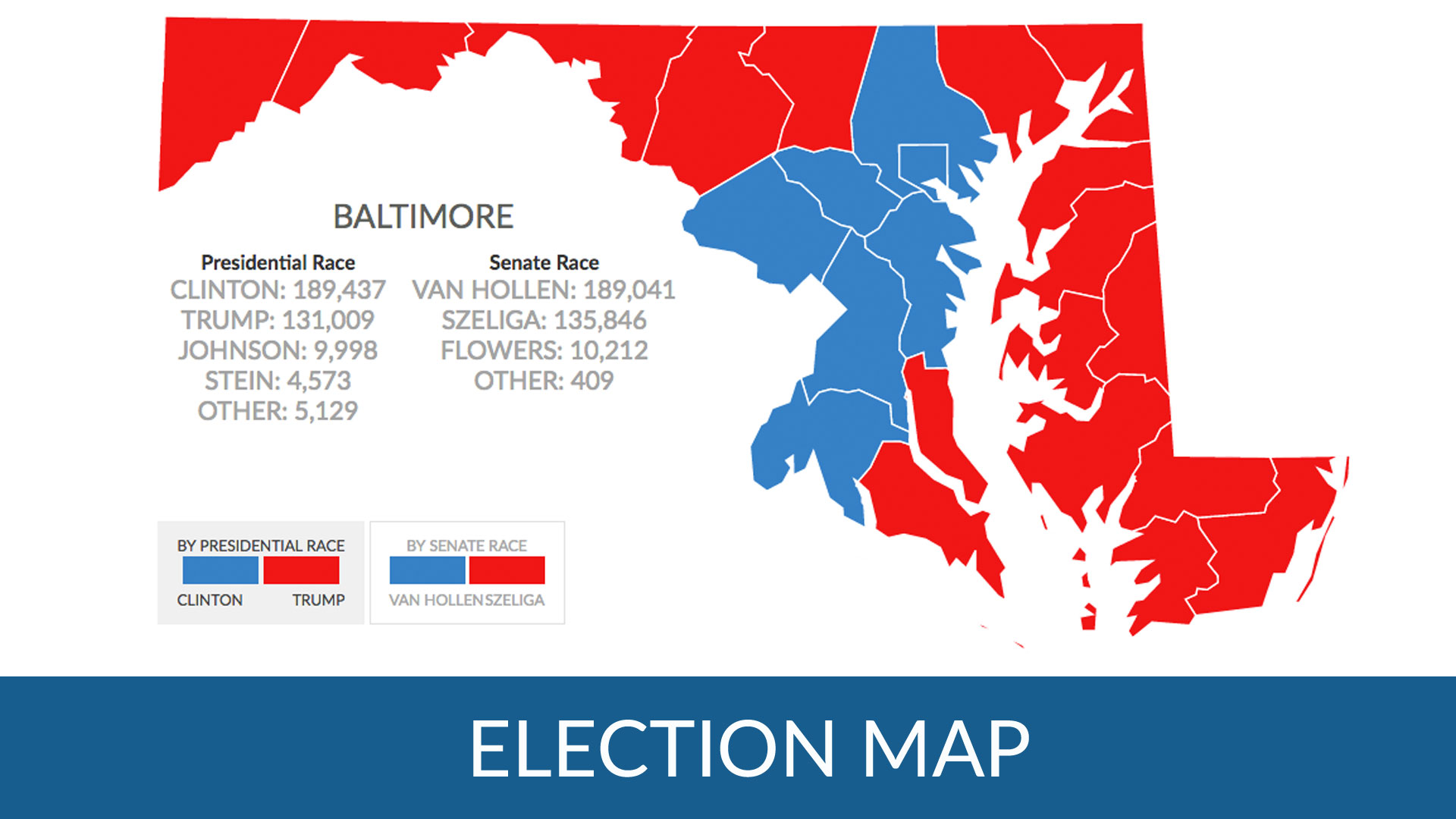 How did Maryland counties vote in the 2016 Presidential election?
